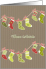Merry Christmas in Italian, stockings, kraft paper effect card