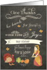 to my Sister, happy Thanksgiving, chalkboard effect, turkey, pumpkin card