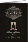 You are invited, 2014 New Year's Eve Party, chalkboard effect card