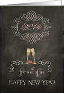 2014, Happy New Year from all of us, chalkboard effect, card