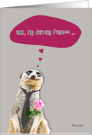 Happy Valentine's Day to my darling Fiancee, meerkat holding rose card