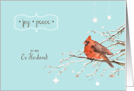 Merry Christmas to my ex husband card, red cardinal, watercolor card