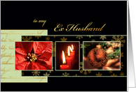 Merry Christmas to my ex husband, poinsettia, gold effect card