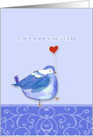 I love you in Tamil, nān unnai kādhalikkiren, cute bird with heart card