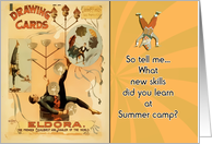 thinking of you, kids in summer camp, letters from home, juggler card