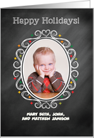 Photo Customized Christmas Chalkboard Look Oval card