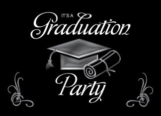 Graduation Party Invitation Black & Silver, Cap & Diploma Greeting Card