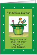 NEW HOME First St. Patrick's Day with Hat and Flowers, Irish, Holiday card