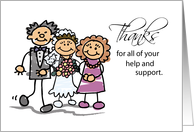 Thanks Mom & Dad for Wedding Help and Support, Stick Figures card