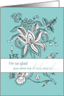 Bridesmaid Paisley teal card