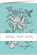MOM and DAD Thank You Paisley teal card