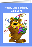 Godson, 2nd Birthday Bear card