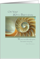 80th Birthday Green Seashell card