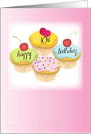 10th Birthday, Cupcakes, Pink card