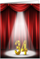 34th Birthday Party invitation-spotlight on stage with red curtains card