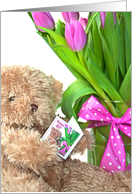 80th Birthday- teddy bear with tulip bouquet and polka dot bow card