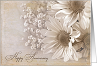 wedding anniversary with daisy bouquet card