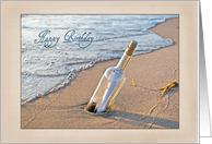 Birthday message in a bottle in beach sand card