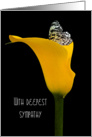 deepest sympathy with butterfly in yellow calla lily card