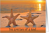 anniversary with starfish on sunset beach card