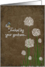 Thank You with butterfly and puff flowers on linen background card