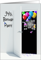 surprise 34th birthday party invitation with balloons card