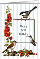 Happy 80th Birthday, Nature Border With Birds And Flowers: Art card