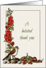 A Belated Thank You: Birds, Flowers, Berries, Mushrooms: Art card