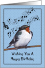 Happy Birthday, General: Bird Singing, Music Notes: Original Art card