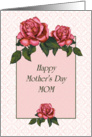 Happy Mother's Day, Mom: Pink Roses in Color Pencil card