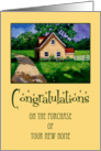Congratulations on Purchase of Home: Oil Painting, Country Cottage card