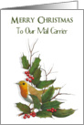Merry Christmas To Mail Carrier: Holly, English Robin, Original Art card