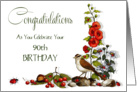 Happy 90th, Ninety, Birthday; Artwork of Bird and Flowers, Berries card