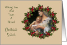 Religious Christmas: Madonna With Baby: Holly, Berries, Original Art card