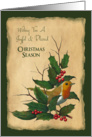 Joyful & Blessed Christmas: Holly, Robin, Original Art: Christian card