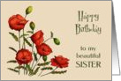 Happy Birthday to my Sister, Red Poppies, Floral Art card
