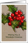 Christmas, General, Wonderful Christmas, Holly, Berries, Snow, Burlap card