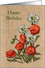 Happy Birthday, General, Burlap-Look Background, Poppies and Daisies card