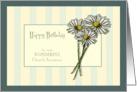 Happy Birthday to Church Secretary, Three Daisies on Stripes card