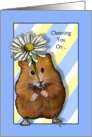 Cheering You On As You Fight Cancer, Hamster with Daisy Flower card