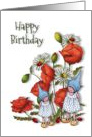 Happy Birthday, General, Little Gnome Girls with Poppies and Daisies card