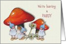 Party Invitation for Girls, Fantasy Art, Toadstools, Gnomes, Daisies card