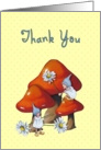 General Thank You, Gnome Children, Toadstools, and Daisies: Art card