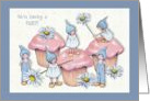 Party Invitation, Cupcakes with Pink Icing, Gnome Kids and Daisies card
