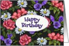 Happy Birthday, General, Flowers on Black Background, Original Art card