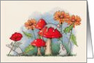 General Any Occasion, Mice with Toadstools, Flowers: Color Pencil Art card