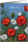 General Thank You, Daisies & Poppies, Original Painting, Impressionism card