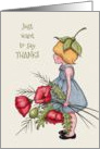 General Thank You, Little Girl with Red Poppies, Color Pencil Art card