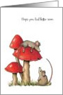 Get Well, General, Cute, Whimsical, Mice with Toadstools, Hand Drawn card