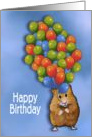 Birthday, Children: Cute Hamster with Huge Cluster of Balloons card